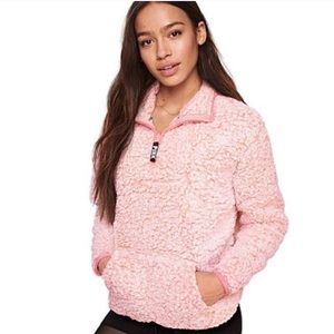 VS PINK SHERPA QUARTER-ZIP XS
